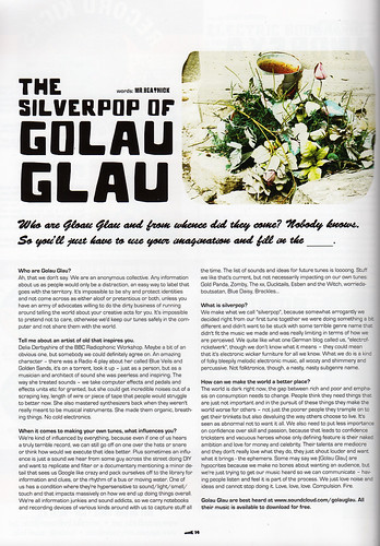 Golau Glau interview, Shook magazine, Vol One Winter No 7