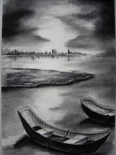 永芬_平靜的湖面與船