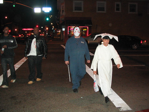 Costumed folk walking in Hillcrest