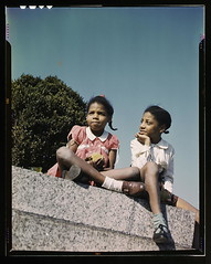 Two little girls in a park near Union Station,...