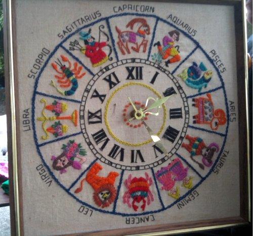 Embroidered zodiac clock