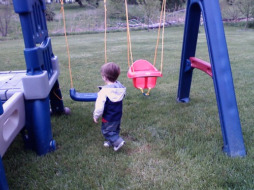 A boy and his swing set