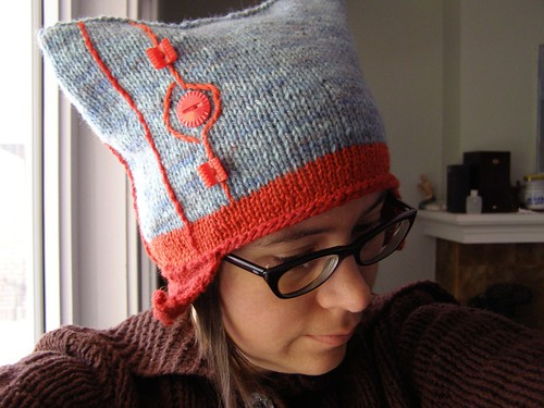 geometric earflap hat - side