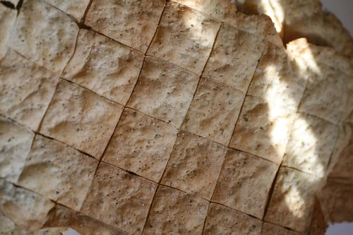 Sheets of crackers out of the oven