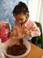 aaliyah helping make cookies