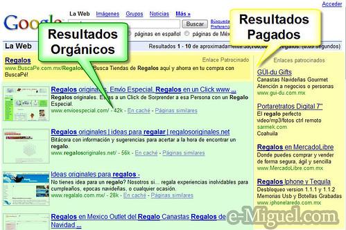 Resultados Organicos vs Resultados Pagados
