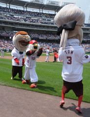 Nationals racing president Teddy Roosevelt is disqualified by mascot Screech for riding a Segway