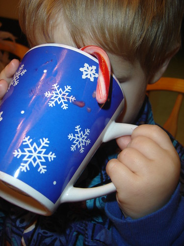 drinking hot chocolate
