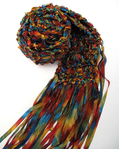 Hand Knit Skinny Ribbon Scarf