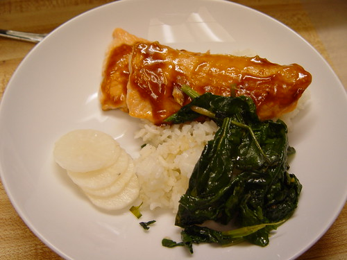 Salmon, daikon radish, and spinach