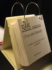 365 Reasons (you are loved) is a personal christmas gift I made last year for a certain someone.  It is a daily reminder of why they are wonderful.