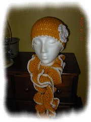 gold hat and scarf