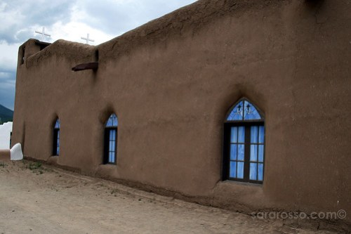 Taos Pueblo church stained glass