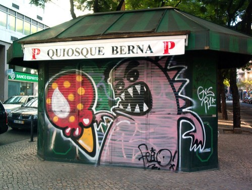 Bombed newspaper stand in Av. Berna, Lisbon. Cool! by Graffiti Land