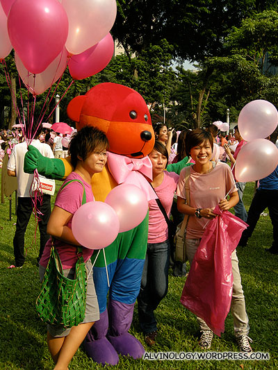 Rainbow bear (the guy in the costume must be dying from the heat!)