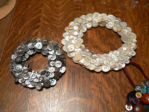 Mom's Silver Button Wreath & My white one