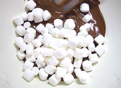 Marshmallows into the chocolate..