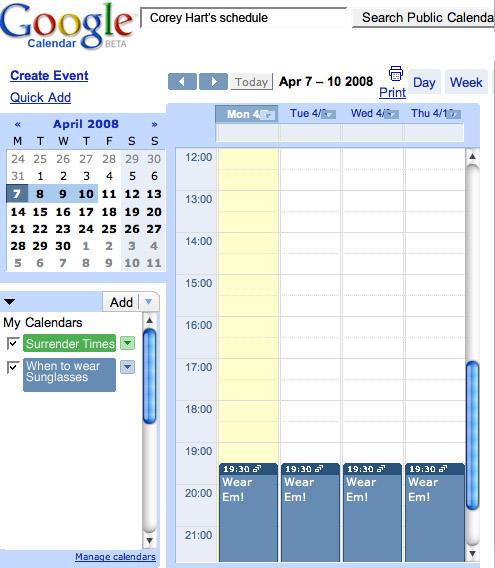 Corey Hart's Daily Schedule
