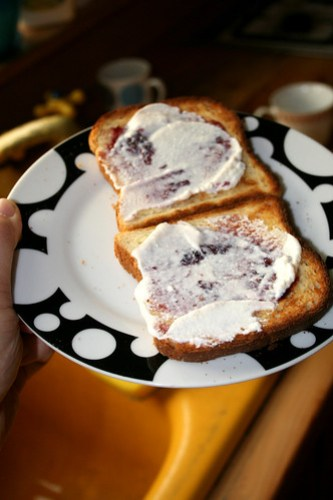 toast with ricotta and jam