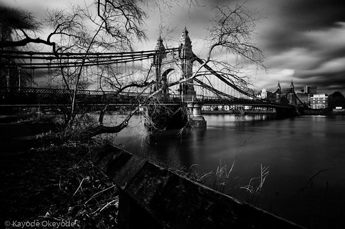 Hammersmith Bridge at Lunch Time (Black and White)