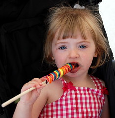 Reilly and her lollipop at the Ocean City Boardwalk