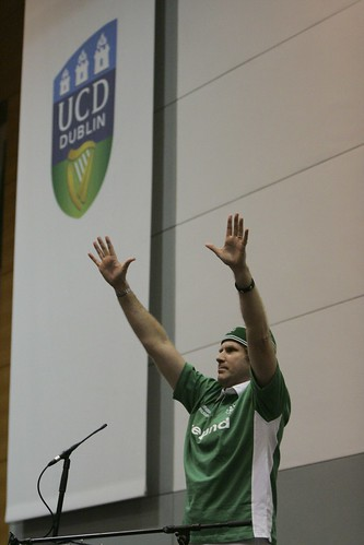 Photo of Will Ferrell accepting the James Joyce Award at UCD