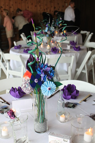 Ryn and Alex's Wedding - Reception - Handmade Flower Centerpieces