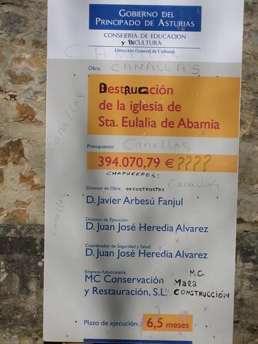 Cartel obras Santa Mª de Abamia. Corao
