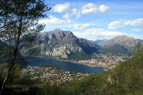 A view of Lecco (far shore) and Malgrate from Monte Barro, Regional Park, Province of Lecco