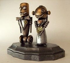 Robot Bride and Groom Wedding Cake Topper Wood Statues with Base 6 by Builders Studio