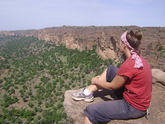 Sitting on a cliff overlooking Dogon Country.