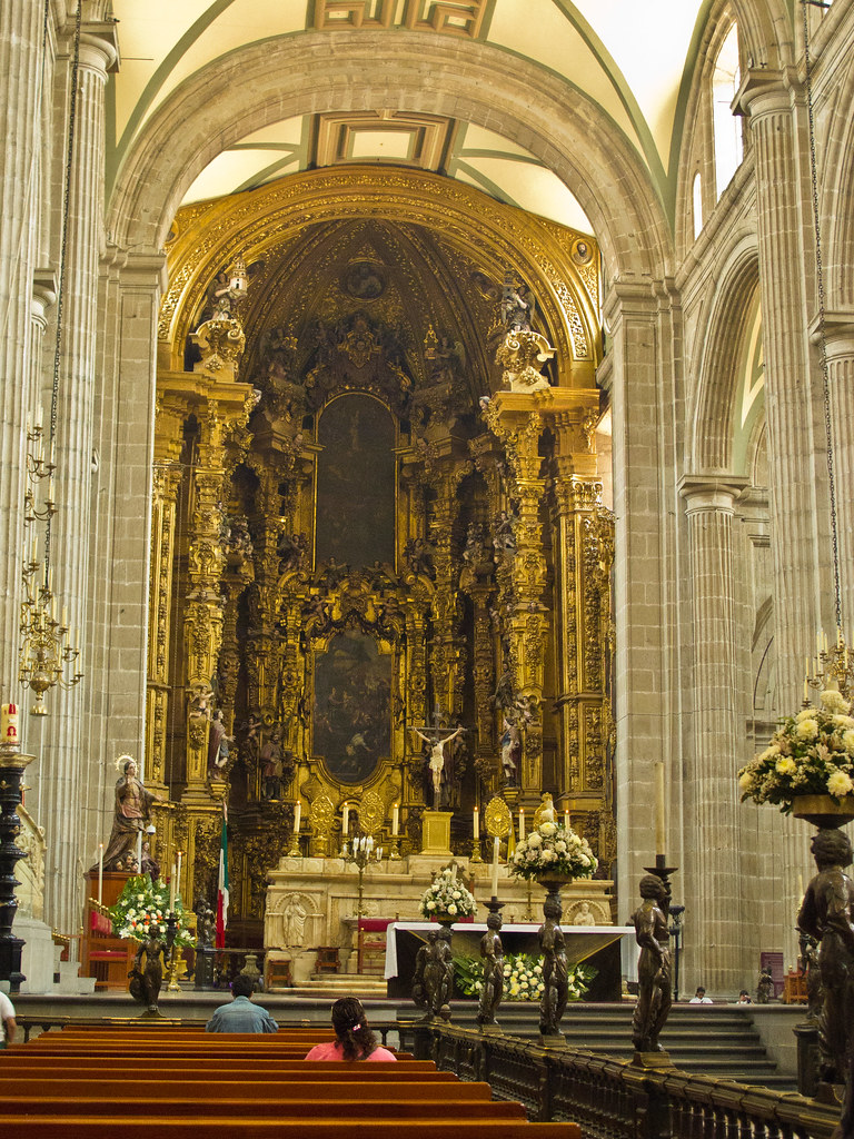 Looking uphill to the altar, Mexico City Cathedral
