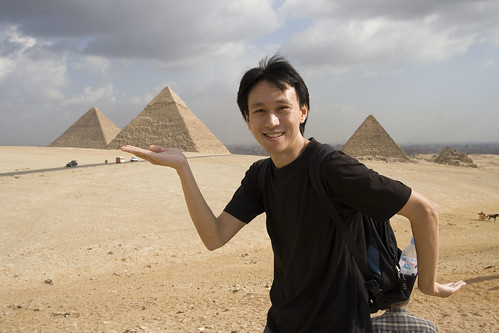 some asian walking like an Egyptian by the Pyramids