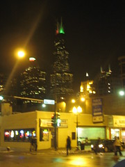 A Night View of the Sears Tower in Chicago