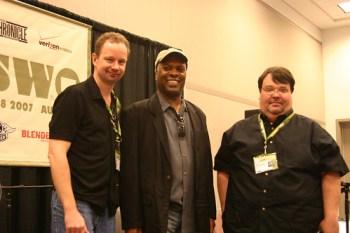 Greg Kot (left) and Jim DeRogatis (right) with Booker T Jones