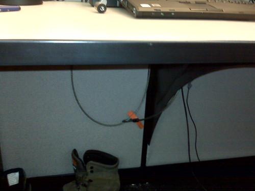Underside of desk