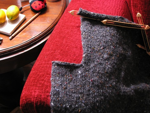 Grey Tweed Pullover armhole