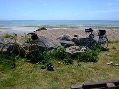 Mark and Leon's bikes at Goring by Sea, West Sussex..