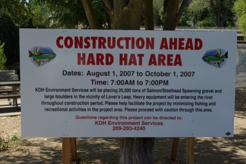Stanislaus River restoration project sign