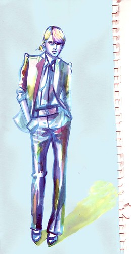 suit woman drawing/watercolor