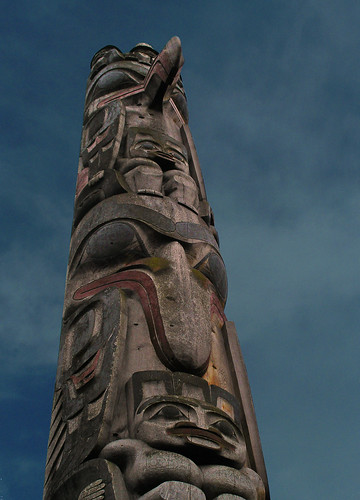 Looking up at a totem pole