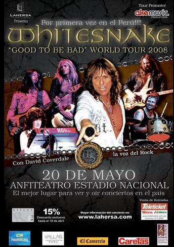Afiche Whitesnake en Lima