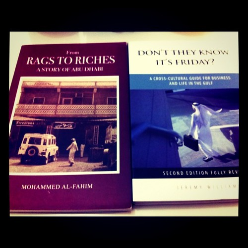 Notice the covers of From Rags to Riches: A Story of Abu Dhabi and Don't They Know It's Friday?