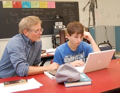 Teacher Jeff Schula works with student Dilan Moody during an intervention period at Searsport District High School.