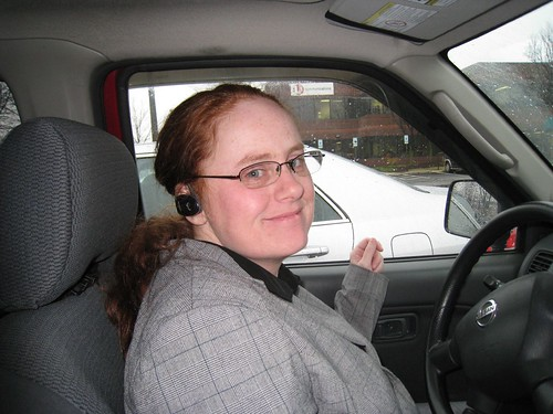 Michele in her car