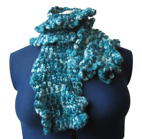gebreide sjaal turquoise