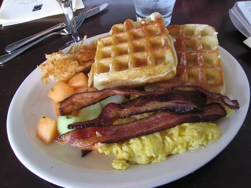 Waffles, Bacon and Scrambled Eggs