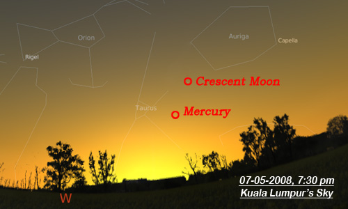 Mercury & Moon. Click to enlarge