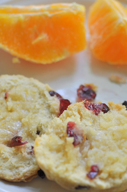 scones and orange slices