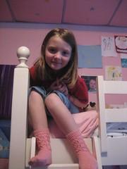 Scrolling pink socks
